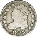 Bust Dimes: , 1823/2 10C Large Es JR-2, R.5. Reiver state a. VG10 NGC. Dark grayin the fields with much lighter silver on the devices. T...