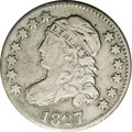 Bust Dimes: , 1827/7 10C JR-1, R.2. Reiver state a. VF30 NGC. The base of the 7in the date shows bold doubling. Mostly silver-gray with ...