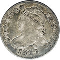 Bust Dimes: , 1827 10C JR-8, R.4. Reiver state b.--Damaged--NCS. VF Details. Darkmottled gray and charcoal toning which is not attractiv...