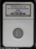 Bust Dimes: , 1828 10C Small Date JR-1, R.2. Reiver state b. VF20 NGC. Darkcharcoal gray in the fields with lighter silver on the worn d...