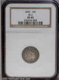Bust Dimes: , 1832 10C JR-2, R.2. Reiver state b. XF45 NGC. Mottled gold and graytoning and slightly dull. Most design features are shar...