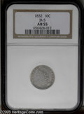 Bust Dimes: , 1832 10C JR-5, R.2. Reiver state b. AU55 NGC. Dark gray with tracesof luster in the protected areas. On this later die sta...