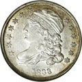 Bust Dimes: , 1833 10C JR-1, R.3. Reiver state b. MS61 NGC. A large retained cud on the reverse through D STATE. A lovely lustrous specim...