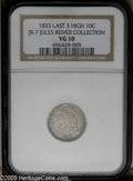 Bust Dimes: , 1833 10C Last 3 High JR-7, R.5. Reiver state a. VG10 NGC. Darksilver with traces of charcoal gray near the devices. A rare...