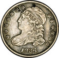 Bust Dimes: , 1834 10C Large 4 JR-5, R.1. Reiver state a.--Obverse Damage--NCS.AU Details. A small attempted puncture at the peak of Lib...