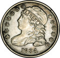 Bust Dimes: , 1834 10C Large 4--Improperly Cleaned--NCS. AU Details. JR-6, R.2.Reiver die state f. Cleaned with the usual resulting hair...