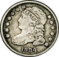 Bust Dimes: , 1834 10C Large 4 JR-6, R.1. Reiver state h. VF30 NGC. Medium graywith darker charcoal patches near the periphery. A very l...