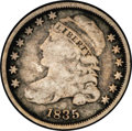Bust Dimes: , 1835 10C JR-2, R.4. Reiver state c. Good 4 NGC. Medium to darksilver with darker charcoal in the outer reaches of the fiel...