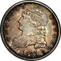 Bust Dimes: , 1835 10C JR-9, R.2. Reiver state a. AU55 NGC. Dark gray toning predominates although a variety of russet and blue colors ar...