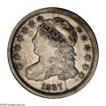 Bust Dimes: , 1837 10C JR-4, R.1. Reiver state b. AU53 NGC. Light silver with asplash of dark gold on the top of Liberty's head and cap,...