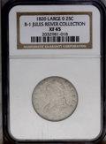 Bust Quarters: , 1820 25C Large 0. B-1 R.4. XF45 NGC. Usual Die State. Large 0, wide date; I centered below T. Light silver with traces of l...