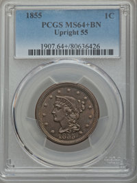 1855 1C Upright 55, MS64+ Brown PCGS. PCGS Population: (135/60 and 6/4+). NGC Census: (105/110 and 0/0+). CDN: $345 Whsl...