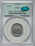 Proof Shield Nickels: , 1874 5C PR65 PCGS. CAC. PCGS Population: (80/59). NGC Census: (84/51). CDN: $585 Whsle. Bid for problem-free NGC/PCGS PR65....
