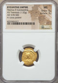 Ancients:Byzantine, Ancients: Tiberius II Constantine (578-582). AV tremissis (1.52gm). NGC MS 5/5 - 3/5....