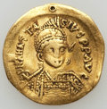 Ancients:Byzantine, Ancients: Anastasius I (AD 491-518). AV solidus (4.35 gm). NearlyVF, wavy flan, filled piercing....