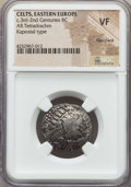 Ancients:Celtic, Ancients: EASTERN CELTS. Imitating Philip II (359-336 BC). ARtetradrachm. NGC VF, flan crack....