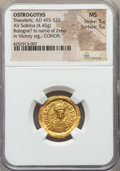 Ancients:Roman Imperial, Ancients: OSTROGOTHS. Theoderic (AD 493-526) in the name of Zeno(AD 474-491). AV solidus (4.45 gm). NGC MS 5/5 - 5/5....