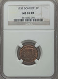 Dominican Republic, Dominican Republic: Republic Centavo 1937 MS65 Red and Brown NGC,...
