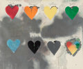 Fine Art - Work on Paper:Print, Jim Dine (American, b. 1935). Eight Hearts, 1970.Screenprint in colors. 24 x 29 inches (61 x 73.7 cm). From anunknown ...