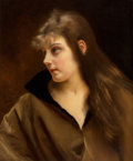 Fine Art - Painting, European:Antique  (Pre 1900), Gustave Jean Jacquet (French, 1846-1909). Portrait of brunettewith black-trimmed brown coat. Oil on canvas. 22 x 18-1/2...