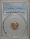 Gold Dollars, 1850-D G$1 -- Cleaning -- PCGS Genuine. AU Details. Variety 2-C....
