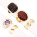 Estate Jewelry:Rings, Synthetic Sapphire, Carnelian, Black Onyx, Gold Rings. . ...(Total: 5 Items)