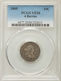 Early Dimes, 1805 10C 4 Berries VF20 PCGS. PCGS Population: (30/259). NGCCensus: (2/21). CDN: $1,550 Whsle. Bid for problem-free NGC/PC...