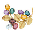 Estate Jewelry:Brooches - Pins, Multi-Stone, Gold Brooch. . ...