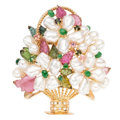 Estate Jewelry:Brooches - Pins, Freshwater Cultured Pearl, Tourmaline, Chrysoprase, Diamond, GoldBrooch. . ...