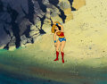 Animation Art:Production Cel, Super Friends Wonder Woman Production Cel and PrintBackground Setup (Hanna-Barbera, 1970s-80s).... (Total: 2 OriginalArt)