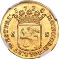 Netherlands:Holland, Netherlands: Holland. Provincial gold 6 Stuivers (Off-Metal Strike of 2 Ducats) 1738/6 MS64 NGC,...