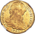 Colombia, Colombia: Charles IV gold 4 Escudos 1790 P-SF XF45 NGC,...