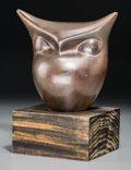 Sculpture, Beniamino Bufano (Italian, 1898-1970). Owl. Bronze with brown patina. 6-1/2 inches (16.5 cm) high on a 3 inches (7.6 cm)...