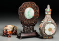 Asian:Chinese, A Group of Three Chinese Smalls: Lidded Vase, TableScreen & Toad. 6-1/2 inches high (16.5 c... (Total:3 Items)