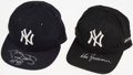 Autographs:Others, Darryl Strawberry & Don Zimmer New York Yankees Signed Hats....