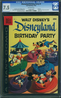 Dell Giant Comics Disneyland Birthday Party #1 (Dell, 1958) CGC VF- 7.5 Off-white pages