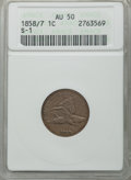 1858/7 1C Large Letters, Snow-1, FS-301, AU50 ANACS. NGC Census: (0/0). PCGS Population: (2/4). CDN: $165 Whsle. Bid for...