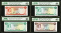 World Currency: , Bahamas Government 1965 PMG Graded.. ... (Total: 4 notes)