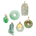 Estate Jewelry:Pendants and Lockets, Jadeite Jade, Gold Coin, Enamel, Gold Pendants. ... (Total: 6Items)