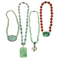 Estate Jewelry:Necklaces, Jadeite Jade, Coral, Gold, Sterling Silver, Silver VermeilNecklaces. . ... (Total: 4 Items)