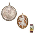Estate Jewelry:Lots, Multi-Stone, Shell Cameo, U.S. Liberty Silver Coin, Gold, Sterling Silver Jewelry. . ... (Total: 3 Items)