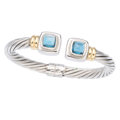 Estate Jewelry:Bracelets, Blue Topaz, Gold, Sterling Silver Bracelet. . ...
