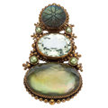Estate Jewelry:Brooches - Pins, Multi-Stone, Dyed Half-Pearl, Silver Vermeil Brooch, Stephen Dweck. . ...