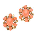 Estate Jewelry:Earrings, Coral, Diamond, Gold Earrings. . ... (Total: 2 Items)