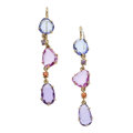 Estate Jewelry:Earrings, Tanzanite, Multi-Color Sapphire, Gold Earrings. . ... (Total: 2Items)