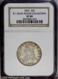 Bust Quarters: , 1822 25C Normal Reverse. B-1, R.2. XF40 NGC. Usual Die State. Star7 points to top of curl; Normal reverse. Medium silver w...