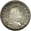 Early Half Dollars: , 1795 50C 2 Leaves. O-105a, R.4. VF35 NGC. Struck from a distinctivereverse with a 10 by 7 berry arrangement; the obverse o...