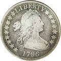Early Half Dollars: , 1796 50C 16 Stars VG8 NGC. O-102, High R.5. The usually seen diecrack that extends from the rim between the date and star ...