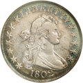 Early Half Dollars: , 1802 50C O-101, R.3. AU55 NGC. Die variety collectors need toobtain only one example of the 1802, since just a single die ...