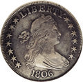Early Half Dollars: , 1806 50C Pointed 6, Stem O-115a, R.2. VF35 NGC. The obverse has TYrecut and the reverse has a leaf point centered below I,...